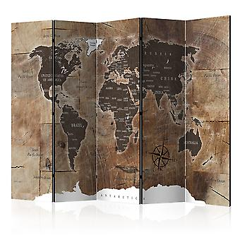 Vouwscherm - Room divider – Map on the wood