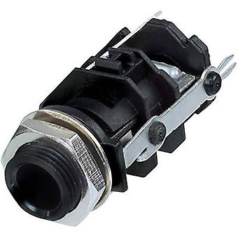 Rean AV RJ3VI-D1-CON 6.35 mm audio jack Socket, vertical vertical Number of pins: 3 Stereo Black 1 pc(s)