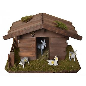 Nativity accessories cribs set animal STALL stable donkey 3 goats swallow's nest