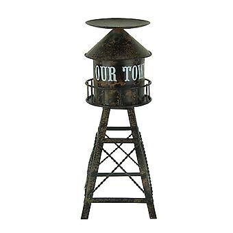 Distressed Finish Metal Water Tower Pillar Candle Holder