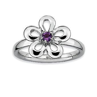 925 שטרלינג חוד הגדר מצופה רודיום ביטויים הערמה מלוטש אחלמה פרח טבעת תכשיטים מתנות לנשים