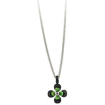 Ti2 Titanium svart tilbake fire Petal blomst anheng - friske grønne