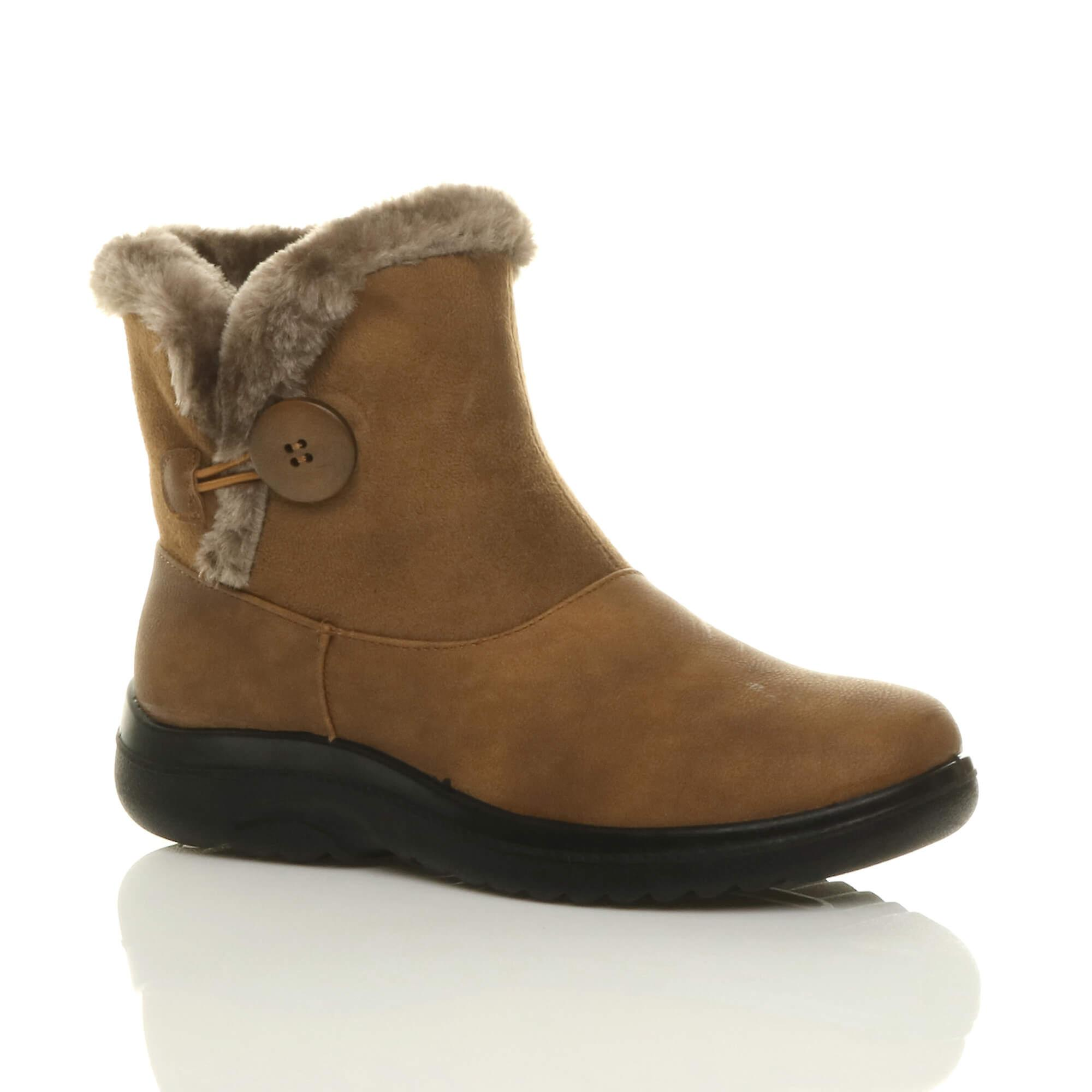 Ajvani womens low heel flat fur lined trim button zip winter ankle boots jvEXh