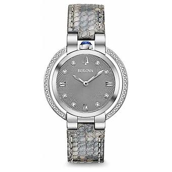 Bulova Women's Rubaiyat Diamond Set Leather Strap 96R218 Watch