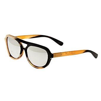 Bertha Brittany Buffalo-Horn Polarized Sunglasses - Black-Tan/Silver