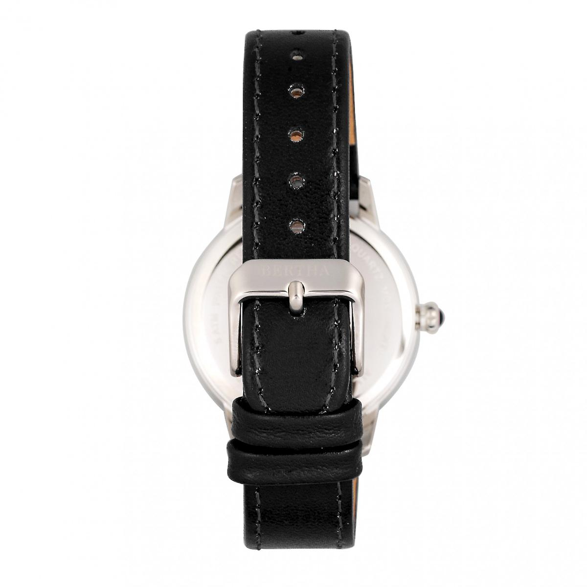 Bertha Adaline Mother-Of-Pearl Leather-Band Watch - Black