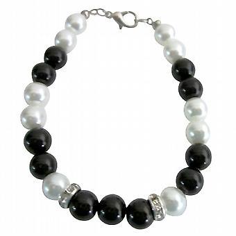 Super Dollaro 5 gioielli 8mm nero & bianco perle & Rondelles Bracciale