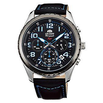 Orient Chronograph quartz men's Watch with leather band FKV01004B0
