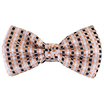 Knightsbridge Neckwear Squares Polyester Bow Tie - White/Black/Orange