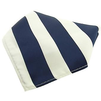 David Van Hagen Striped Polyester Pocket Square - Navy/White