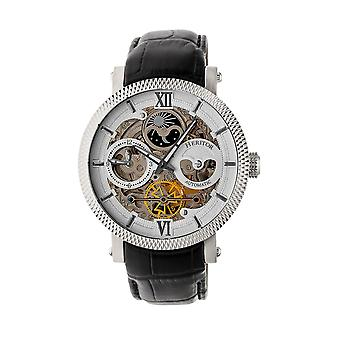 Heritor Automatic Aries Skeleton Leather-Band Watch - Black/White