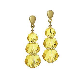 Eternal Collection Trinity Light Topaz Austrian Crystal Gold Tone Drop Clip On Earrings