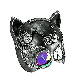 Steamkpunk Cat Robot Kitty Halloween Costume Mask with Light Refraction Monocle