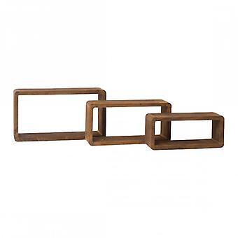Meubles Rebecca Set 3 Étagères Rectangulaire Mur Dark Wood Design 24x41x9