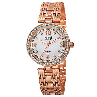 Burgi Women's Mother of Pearl Swarovski Accented Crystal Bezel Watch BUR136RG
