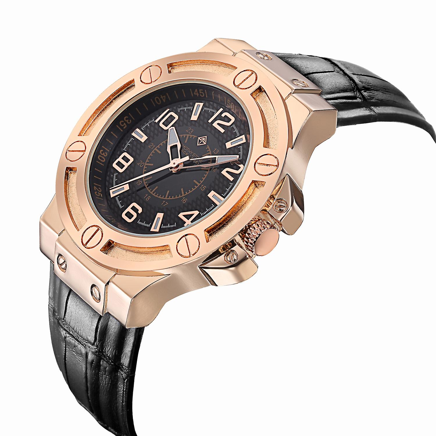 Timothy Stone Men's MANIS Rose Gold-Tone Watch and Black Croco Leather Strap
