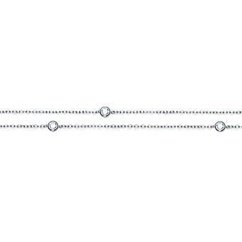 Rhodié Silver Necklace With Cubic Zirconia Serti Clos 80cm