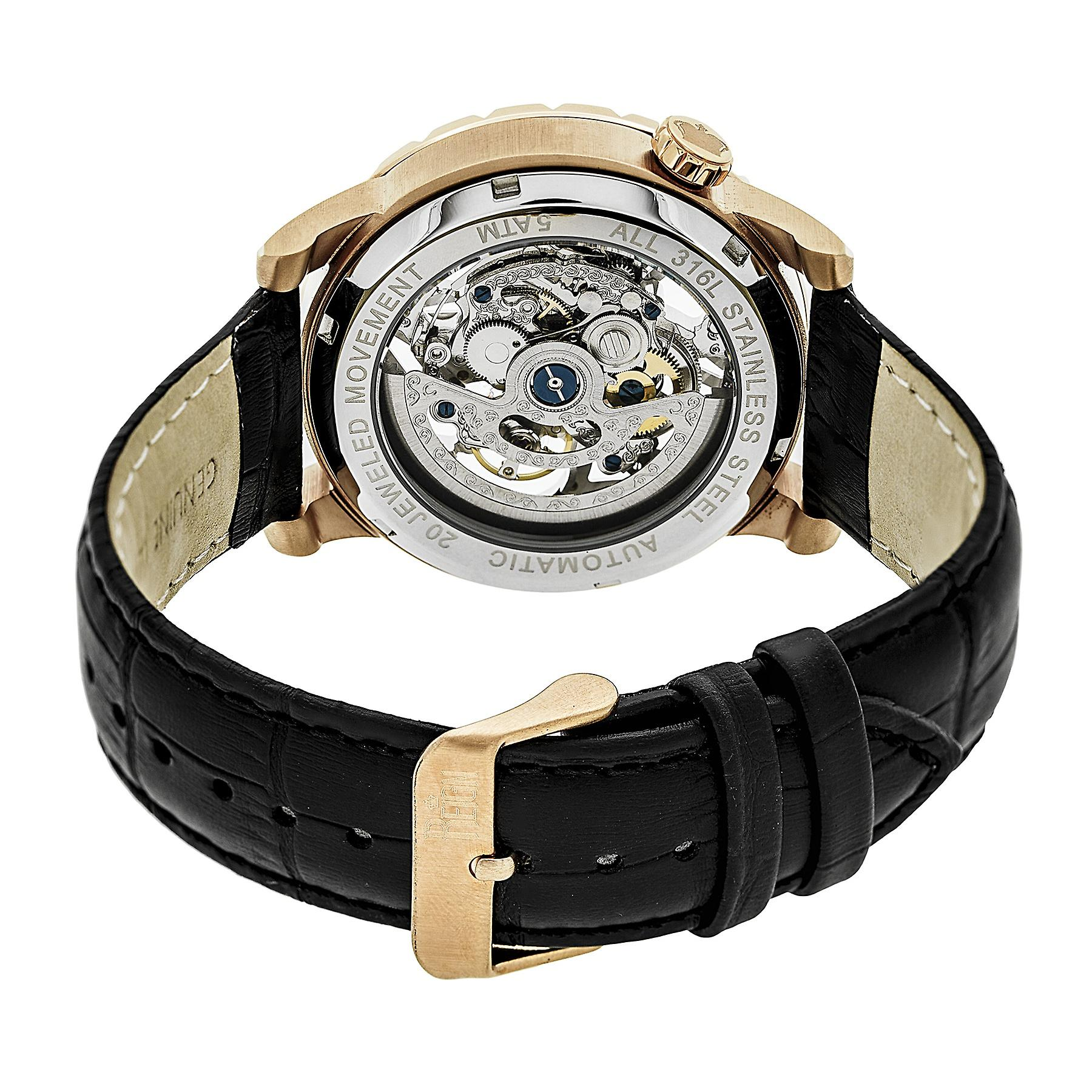 Reign Xavier Automatic Skeleton Leather-Band Watch - Rose Gold/Black