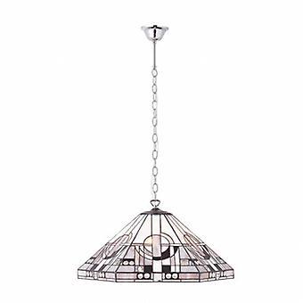 3 luz grande teto pingente Tiffany vidro, placa de efeito cromado