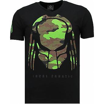 Predator-rhinestone T-shirt-sort