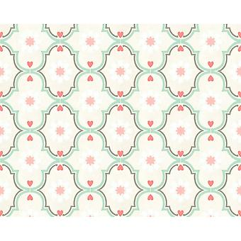 A.S. Creation As Creation Cozz Pastel Retro Floral Ethnic Hearts Ornament Motif Smooth Wallpaper 362975