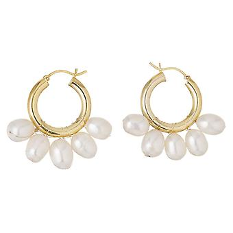 Gemshine Earrings Hoop earrings - 11mm white studded beads in 925 silver or gold plated