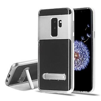 Silver/Transparent Clear Hybrid Protector Cover (w/ Magnetic Stand) for Galaxy S9 Plus