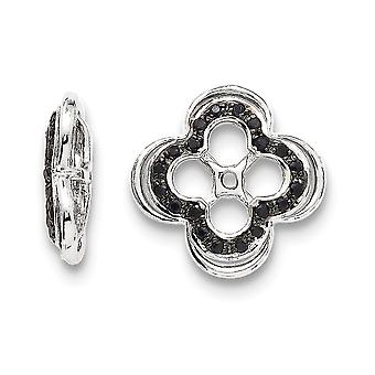 925 Sterling Silver Rhodium-plated Black Sapphire Earrings Jacket - .25 cwt