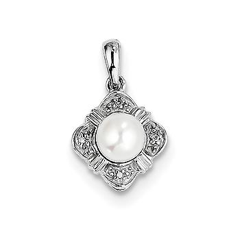 925 Sterling Silver Polished Rhodium Freshwater Cultured Pearl and Diamond Pendant Necklace Jewelry Gifts for Women