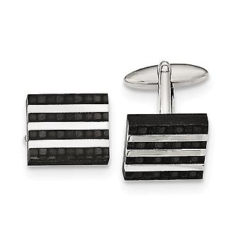 Stainless Steel Polished and Brushed Carbon Fiber Cuff Links Jewelry Gifts for Men