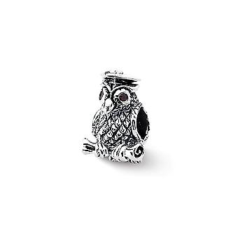 925 Sterling Silver Polished Antique finish Reflections Wise Owl Bead Charm