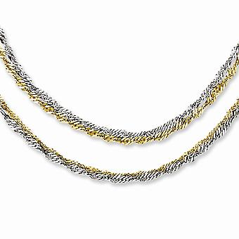 Stainless Steel Yellow IP plated Fancy Lobster Closure Polished and Gold Ion plated Multichain Necklace 17.5 Inch Jewelr