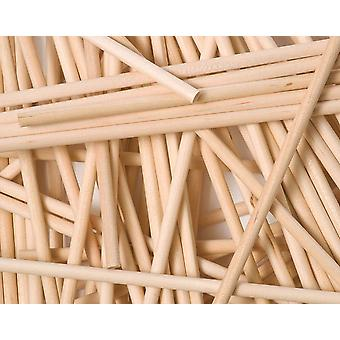 50 High Quality 15cm Round Natural Wooden Lollipop Sticks - 4.5mm Thick