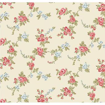 Rose Floral Trail Wallpaper Beige rosa blau grün Blatt vorgeklebt Vinyl Norwall