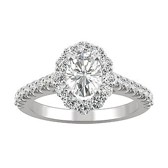 14K White Gold Moissanite by Charles & Colvard 7x5mm Oval Halo Engagement Ring, 1.54cttw DEW