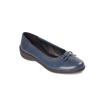 Padders Roxy Ladies Leather Wide (e Fit) Pumps Navy