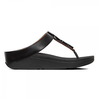 FitFlop Fino Shellstone Ladies Toe Post Sandálias Preto
