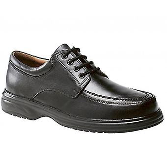 Roamers Lowell Mens Leather Wide E Fit Shoes Black