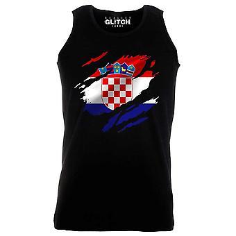Reality glitch torn croatia flag mens vest