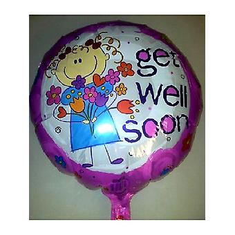 """Foil Balloon 'GET WELL SOON' Pink With Flowers 18"""" (Requires Helium)"""