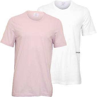 Calvin Klein 2-Pack Statement 1981 Crew-Neck T-Shirts, White / Pink Sky