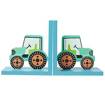 Sass & Belle Wooden Green Tractor Bookends