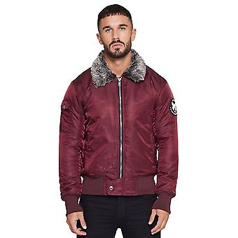 Good For Nothing Prestwich Aviator Pilot Jacket - Plum
