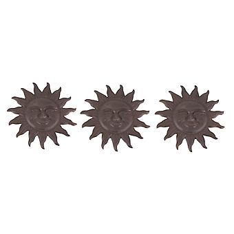 Set of 3 Cast Iron Sun Face Stepping Stones Lawn Garden Decorative Yard Path Art