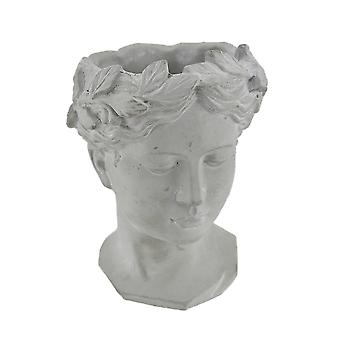 Classic Greek Grey Lady Indoor Outdoor Cement Head Planter