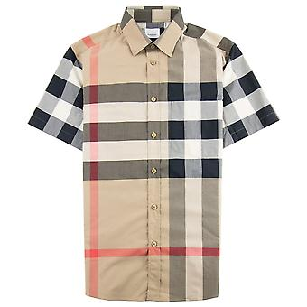 Burberry Short-sleeve Check Stretch Cotton Poplin Shirt Archives Beige