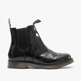 Grafters Dudley Unisex Leather Brogue Air Cushion Sole Dealer Boots Black