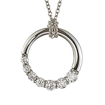 14K White Gold Forever One Moissanite Circle Journey Ketting, 0.87cttw DEW