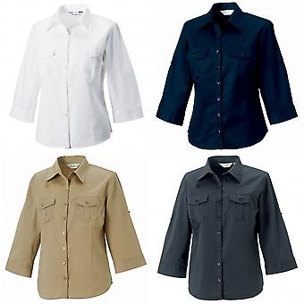Russell Collection Womens/Ladies Roll-Sleeve 3/4 Sleeve Work Shirt