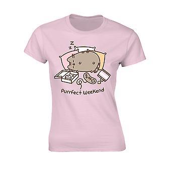 Donne Pusheen Weekend Rosa Ufficiale Tee T-Shirt Ragazze